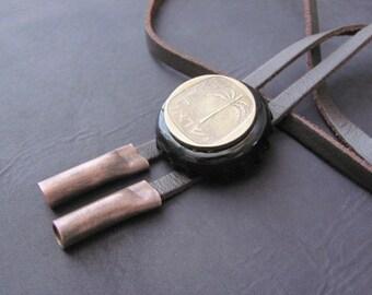 Bolo Tie, Mens Leather Tie, Mens Necklace, Mens Bolo Tie, Copper Bolo Tie, Cowboy Tie,  Necktie, Coin Bolo Tie, Coin Necklace, Tie, Vintage