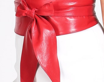 Red Soft Leather Obi Belt Tulip tie| Waist  Corset Belt | Leather tie belt | Real Leather Belt | Plus size belts| Petite to Plus sizes