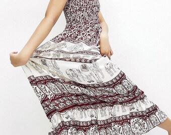 Women Maxi Dress Gypsy Dress Boho Dress Hippie Dress Summer Beach Dress Long Dress Party Dress Clothing Printed Elephant Dark Red (DL46)