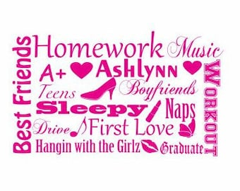 Teen Collage Decal:  Name Customization, Teen girl gifts, Teen Decor, Gifts for her, Wall decor for teens, Best Friend Decal, Lip Decal