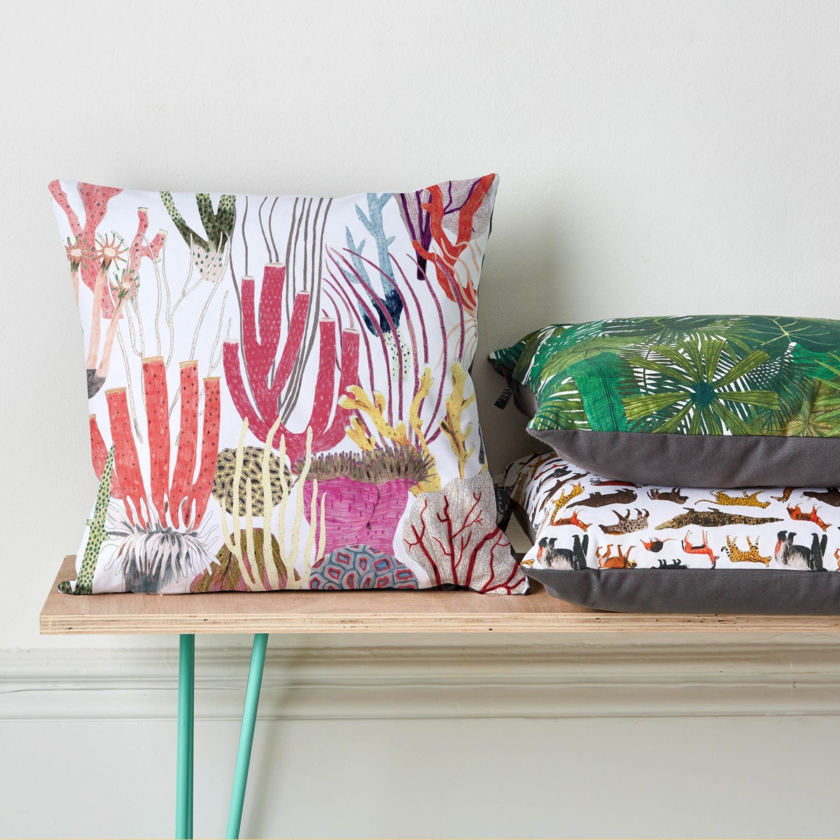 Cushion coral print home decor living room decor for Coral decorations for home