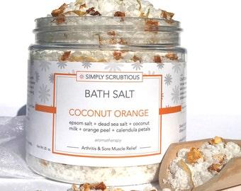 COCONUT ORANGE Bath Salt-Orange Bath Salt-Bath Salt-Aromatherapy Bath Soak-Coconut Bath Salt-Detox Bath Salt- 16 oz.