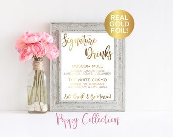 Signature Drink Sign, Wedding Bar Sign, Real Gold Foil Print, Reception Decor, Bar Sign, Bar Menu, Wedding Signs, Wedding Prints