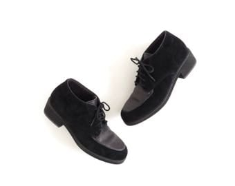 Hush Puppies Shoe Minimalist Shoe Suede Womens Oxfords Lace Up Black Boot Suede Shoe Brogues 90s Minimal Shoe Size US 8.5, EU 39, UK 6.5