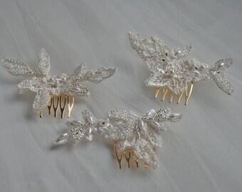 Set of 3 beaded lace bridesmaid's haircombs;lace haircombs;wedding haircombs