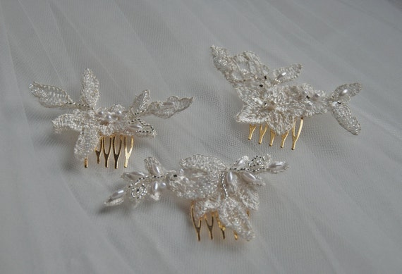 Set of 3 beaded lace bridesmaid's haircombs;lace haircombs;wedding haircombs