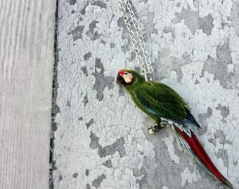 Military Macaw Bird Parrot Necklace, Bird Jewelry, Parrot Lover Gift, Bird lover Gift