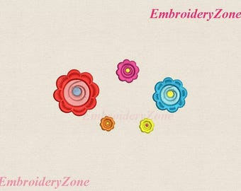 Machine Embroidery design Mini flower. Miniature eight-petal flowers for decor embroidery design 002. 4 sizes Hoop 4 x 4.