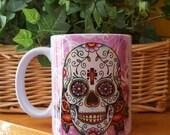 """Sugar Skull Mug, Day of the Dead """"Dia De Los Muertos"""" Coffee Mug"""