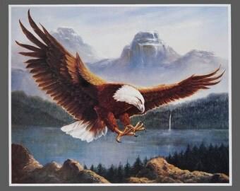 1980s Bald Eagle Print Vintage Poster 19.75 x 24.25