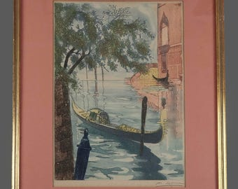 Vintage Lithograph Print with Gondola Station Venice Signed Framed 20th Century Artwork Art