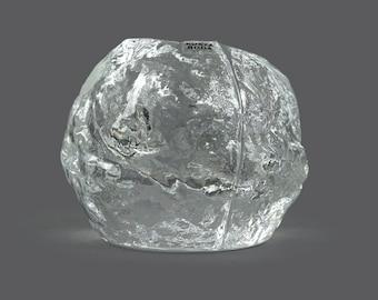 Mid Century Kosta Boda Snowball Swedish Glass Candle holder Ann Warff Crystal Made in Sweden