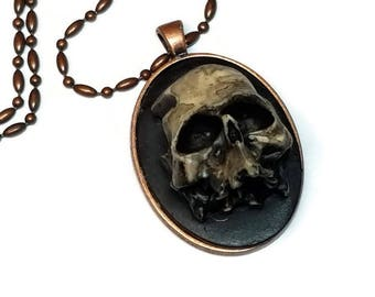 Skull Cameo Horror Necklace, Antiqued Skull Cameo Gothic Jewelry