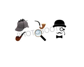 Detectives photo accessories - photobooth props Sherlock Holmes/Hercule Poirot - Photo Booth Props Photobooth Printable - Birthday Party