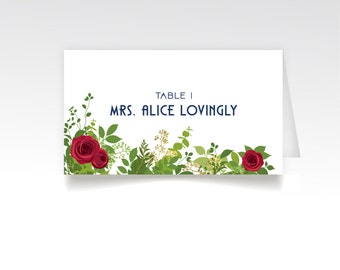 The ALICE Garden . Place Cards Printed . Red White Navy Blue Nautical USA Red Rose Garden Art Deco 1920s Wedding Seating Escort Tent Card