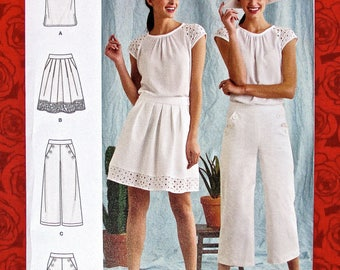 Simplicity Sewing Pattern 8391, Top, Skirt, Sailor Pants & Shorts, Plus Sizes 16 18 20 22 24, DIY Summer Casual Sportswear Fashions, UNCUT