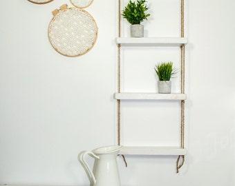 Rope Shelf, Ladder shelf, Hanging Shelf, Wood shelf, Shelves, Shelf, Swing Shelf, Bohemian shelf