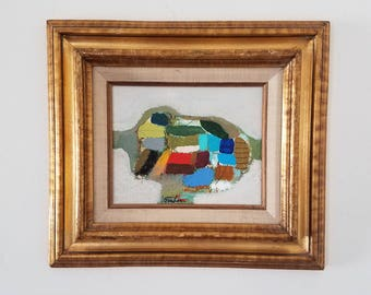 Mid century modern style original painting with vintage wood frame