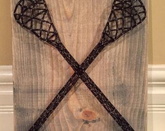 MADE TO ORDER Lacrosse Sticks String Art Sign