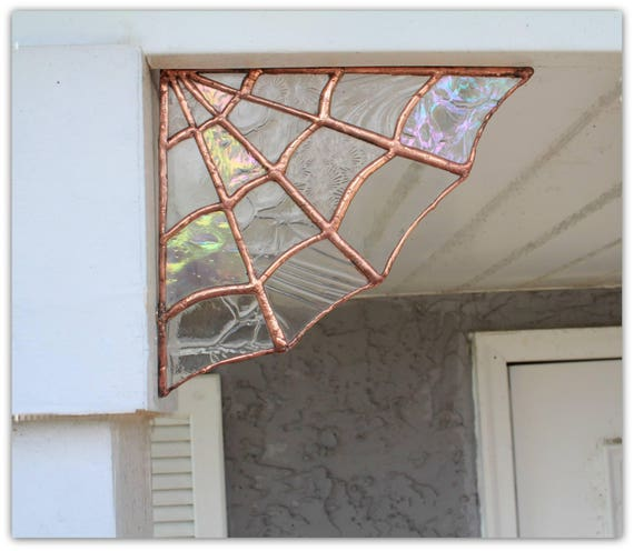 Spider Glass Wall : Copper stained glass spider web wall decor