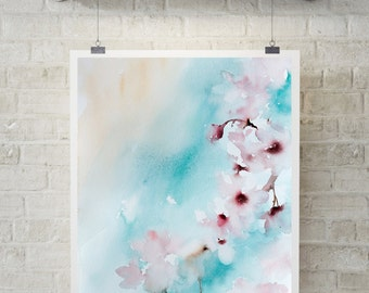 Abstract Print Bloom in Turquoise, Art Print, watercolor painting print, floral modern art, abstract wall art