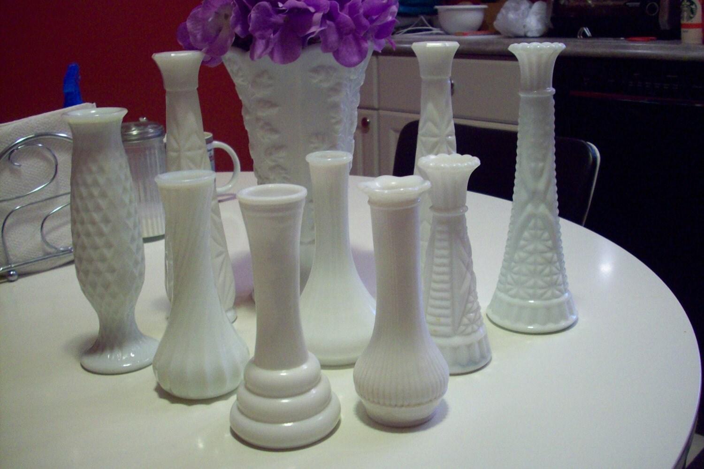 White Milk Glass Vase Set Of 10 Vintage Wedding Centerpiece