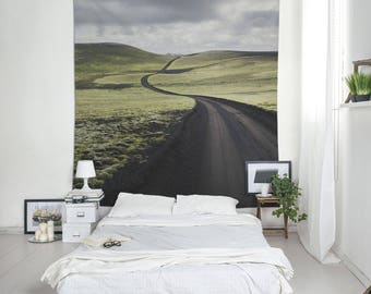 Black Road, Iceland Tapestry, Landscape Photo, Wall Decoration, Wall Hangings, Large Tapestry, Outdoor Tapestries