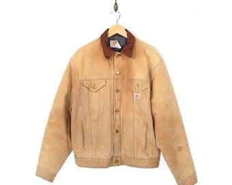 Vintage Carhartt Jacket - 90s Normcore Workwear Carhartt Blanket Lined Canvas Jacket - 90s Carhartt Tan Beige Field Jacket Made In USA