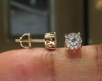 1.00 Carat Genuine Natural Diamond Halo Studs in 14K Gold with Screwbacks (WATCH HD VIDEO)