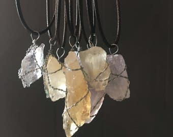 Wire Wrapped Rough Stone Pendant Necklaces