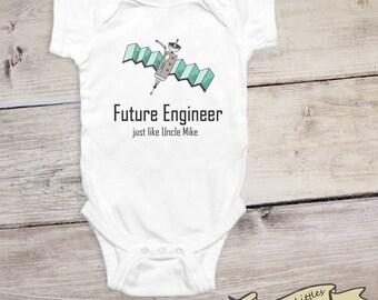Future Engineer Onesie® Personalized Gift for Uncle Dad Grandpa Engineer Baby Boy Onesie®