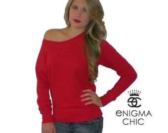 XMAS in July Sale Off the Shoulder Top, Red Off the Shoulder Top, by enigma chic