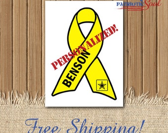 Custom Support Our Troops  - Yellow Ribbon Decal - Yellow Ribbon - Awareness Ribbon - Customized Decal - Army Ribbon - Army Family