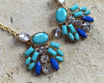 Turquoise and Blue Necklace, Beaded Necklace, Statement Necklace, Southwest Necklace, Southwest Jewelry