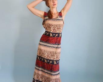 Vintage Tribal Print Maxi Dress with Waist Tie