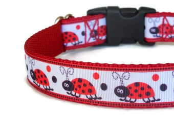 Little Red Ladybugs Dog Collar - Red, White, & Black (Buckle or Martingale)