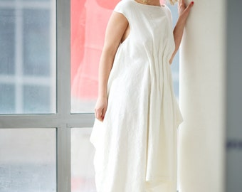 Linen Dress, Sleeveless Dress, White Asymmetric Dress, Boho Dress, Wedding Dress, Kaftan Dress, Boat Neck Dress, Plus Size Dress