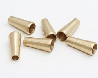 10 Pcs Inner 7mm Raw Brass End Cap Findings, Cone  - Raw Brass End cap , CR46