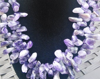 Double strand chunky natural  stone Amethyst beaded Necklace. Free Shipping