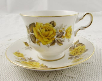 Vintage Queen Anne Tea Cup and Saucer with Yellow Roses, Vintage English Bone China