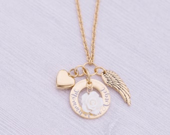 Gold Stainless Memorial Pendant - Cremation Jewelry - Engraved Jewelry - Urn Necklace - Pet Memorial - Ash Necklace - Mommy of an Angel