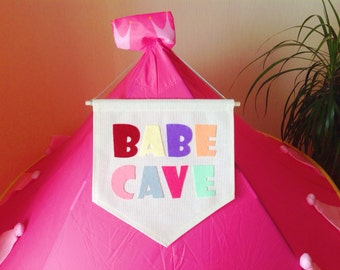 Canvas banner Babe cave 13 x 14 in Wall Hanging Felt Fabric Custom Name quote Pennant Colorful Nursery Playroom Kids Banner Dorm decor