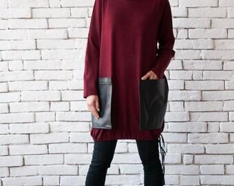 Burgundy Maxi Tunic/Bordo Extravagant Leather Pocket Top/Oversize Loose Blouse/Comfortable Wine Shirt/Long Sleeve Top/Plus Size Maxi Tunic