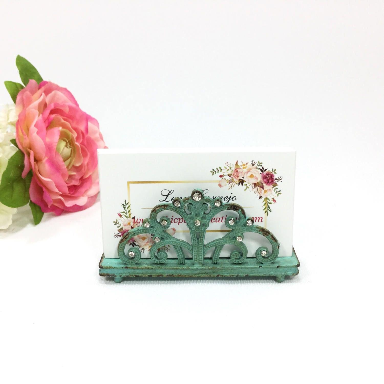 Antique Sea Green Card Holder W Scroll & Flower Design Vintage