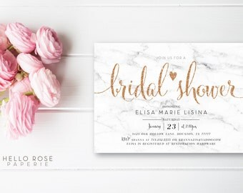 Printable Bridal Shower Invitation . White Marble Wedding Shower Invitation . Digital Download . Gold Leaf Rose Gold Glitter Text and Marble