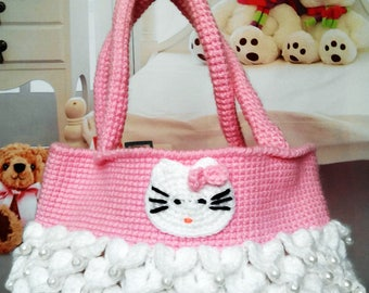 "Knitted bag in pink with pearls and application ""Hello kitty"""