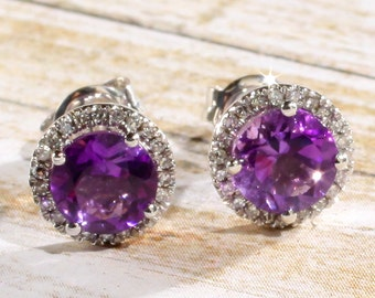 14k White Gold Amethyst & Diamond Round Halo Style Stud Earrings February Birthstone 1.68 CTW Amethyst, 1/8 CTW Diamonds