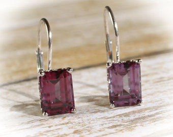 14K White Gold Alexandrite Leverback Earrings, Vintage Scroll Design, Set with 9x7MM Synthetic Alexandrite Gemstones, 5 CTW