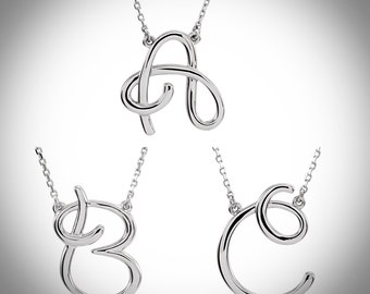 14K White Gold 1/6 CTW Initial Cursive Letter Necklace 16 inches Long, Letters A-Z Available