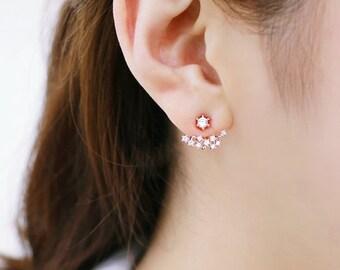 Star earrings, Constellation earrings, Ear Jacket, constellation jewelry, Sterling Silver Post, Star ear Jacket, Front back earring set